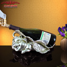 2016 Promotion Rushed Retro Lucky Fu Pig Wine Rack Home Furnishing Decor Practical Living Room Cabinet Display Resin Decoration