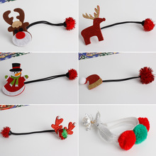 Christmas Hair Accessories Santa Claus Snowman Deer Children Headwear Kids Elastic Hair Bands Princess Hair Ropes Baby Headdress