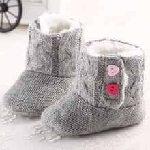 2016 NEW Winter Baby Crochet Knit Fleece Boots Toddler Wool Snow Crib Girl baby cotton Booties Infants warm soft bottom Shoes(China)