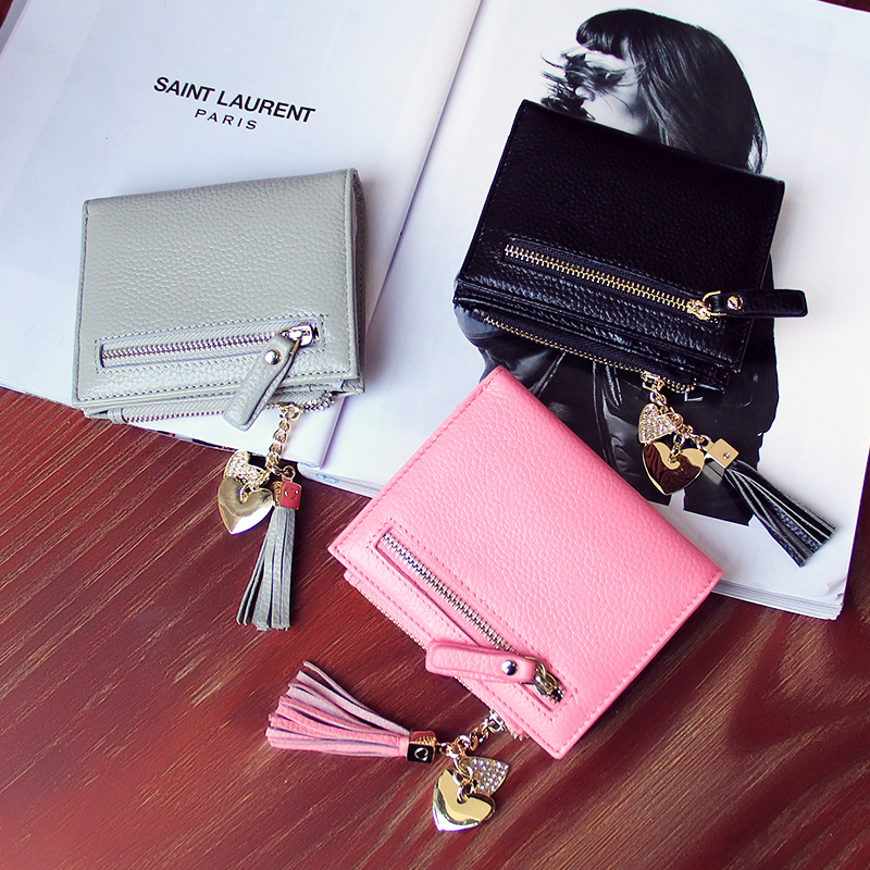 Women Tassel Wallet Brand Purse Fashion Wristlet Cowhide Leather Wallets Short Bifold Wallet Small Leather Purses Card Carteira<br><br>Aliexpress