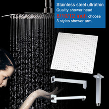 Quality stainless steel square rainfall shower head mirror polish ultrathin water saving 8 10 12 inch shower head holder arm