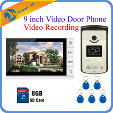 Buy 9 inch Color Video Door Phone Intercom Doorbell System 8GB SD Card Video Recording+1 Monitor+RFID Access Waterproof HD IR Camera for $145.55 in AliExpress store