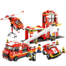 B0227 City Firefighter Mass Dispatch building bricks blocks Toys for children Game Truck Compatible with Decool Lepin Bela