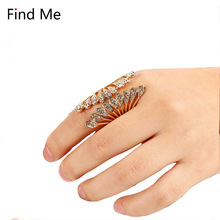 Find Me 2018 brand Vintage Unique Carved Antique punk Lucky Rings for Women Jewelry Beach boho multilayer big gem crystal rings(China)