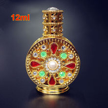 1PC 12ml Antiqued Metal Perfume Bottle Arab Style Essential Oils Bottle with Glass Dropper Gold Color(China)