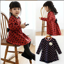 Retail wholesale Korean girls dress DOT BOW  winter autumn fall for toddler little girl cheap