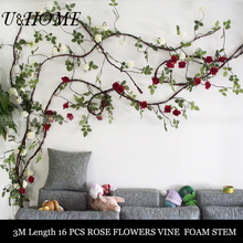 3M artificial rose vine silk rattoos climbing roses flowers rings for home DIY hanging wall wedding car outdoor decoration bulk(China)