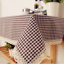 High Quality Table Cloth Literary Artistic Lattice Tablecloth Linen Rectangular Tablecloths with Lace Home Textile
