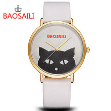 BSL1019 BAOSAILI Branded Mysterious Black Cat Longlasting Battery Waterprhoof Life Buckle Ladies Watch