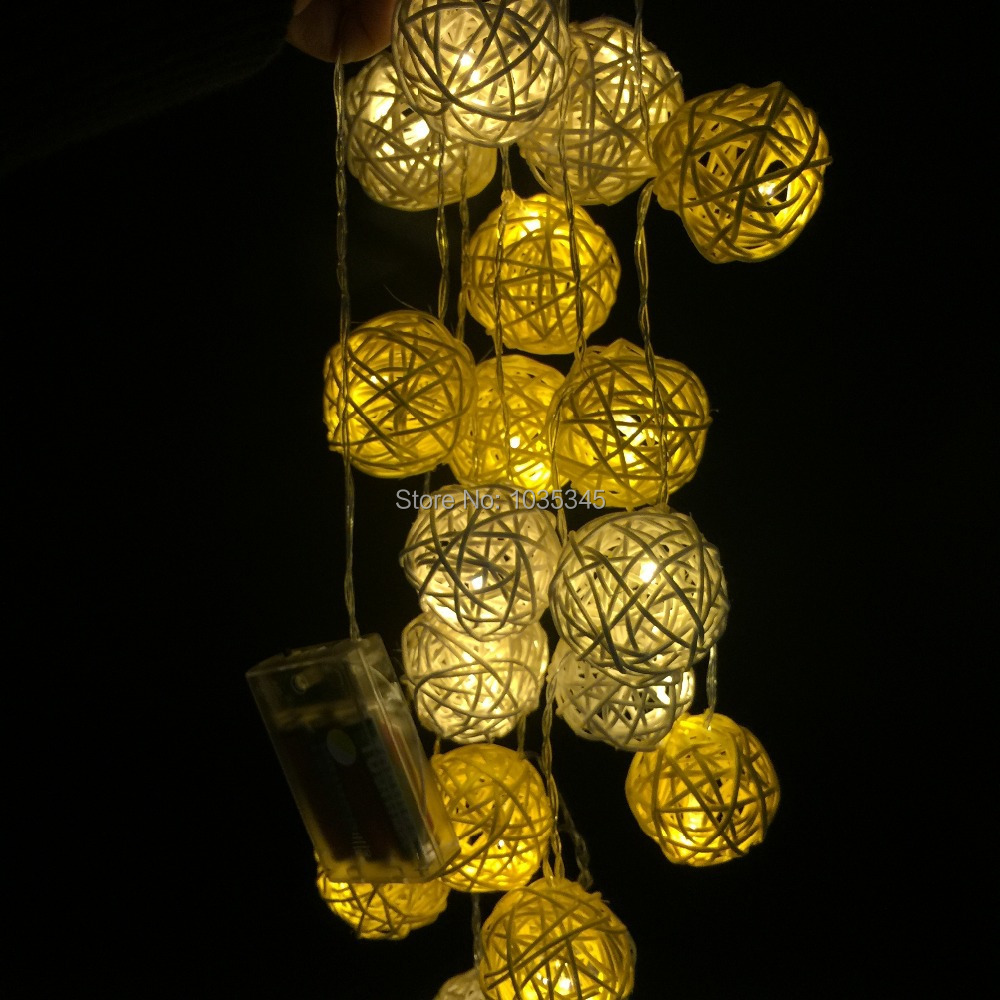 20 Set Handmade Rattan Ball String Lights Fairy Light Ideas Lighting For Christmas Party Home