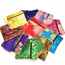 Luxury Coin  Tassel Small Zipper Pouches Party Favor Square Silk Brocade Gift Packaging Bags 10pcs/pack mix color Free shipping