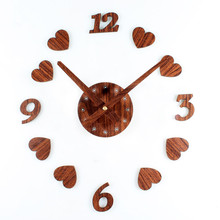 2017 Retro Nostalgic Wood Wall clock Creative DIY Heart Soulmate Wall Stickers Clock Movement Mute Sweep Seconds Wall Clock(China)