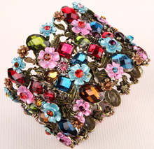 Flower floral stretch wide bracelet for women summer cute cuff fashion wedding bridal jewelry F28 gold & silver color(China)