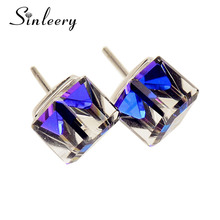 SINLEERY Charm 2017 New Women Fashion Multicolor Refractive Surface Genuine Crystal Cube Earrings Stud Jewelry Es510(China)