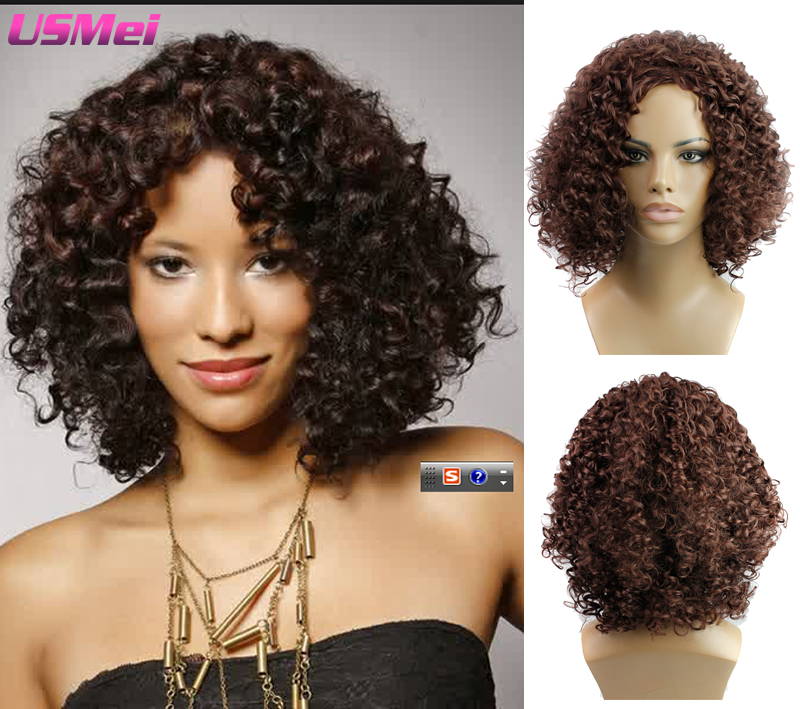 Afro Kinky Curly Hair Wigs Medium Black Brown Synthetic Wigs with Bang Baby Hair Perluca Blanca Perruque that Look Real and Good<br><br>Aliexpress