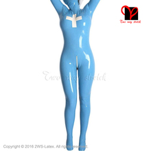 Buy Nurse Sexy Light Blue Full body Latex suit feet gloves Hood Mask Rubber Catsuit doctor overall body stockings latex catsuit