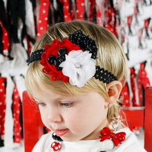 12PCS/LOT Black Red Chiffon Flower Hair Bows Headband kids Hair Accessories Merry Christmas Best Party Dress Up DIY Headwear(China)