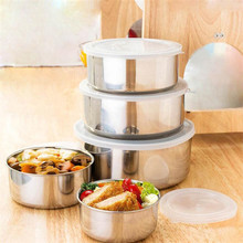 ZMHEGW 5 Pcs Stainless Steel Home Kitchen Food Container Storage Mixing Bowl Set Stainless steel bowl With lid(China)