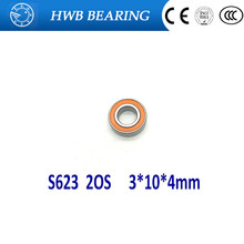 Free shipping S623 2OS 3X10X4mm S623 2RS CB ABEC7 LD 3x10x4 Stainless steel hybrid ceramic ball bearing fishing bearing