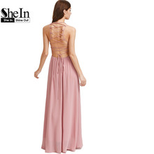 SheIn Sexy Maxi Dresses Womens Summer Dresses Pink Double Strap Lace Up Back Maxi Dress Spaghetti Strap A Line Dress