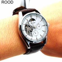 2017 New Moon phase Leather Band Automatic Mechanical Skeleton Watch For Men Fashion Gear Wrist Watch Reloj Army Hombre Horloge