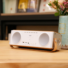 Nature Wooden Powerful Bluetooth Speaker With Leather Handle Hi-Fi Surround Dual Stereo& TF card player Hands-free Mic Subwoofer