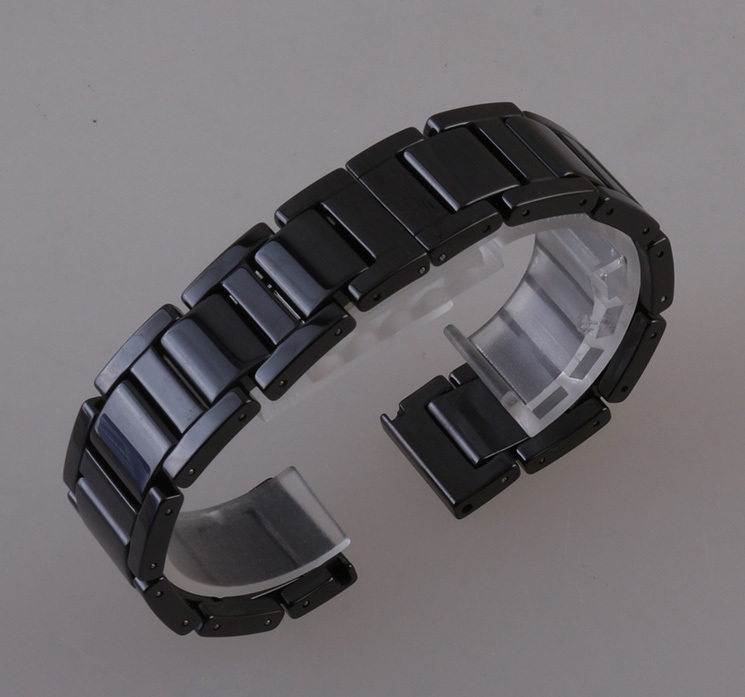 Hot 2017 Watchband Ceramic Black Watchbands  16mm 18mm 20mm Strap straight interface Solid Links  Steel folding new buckle clasp<br><br>Aliexpress