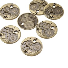 Tibetan Style Pendants, Flat Round Watch Gears Charms, Nice for Steampunk Jewelry Making, Lead Free & Nickel Free, Antique(China)
