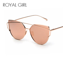 ROYAL GIRL NEW Brand Design Cat Eye Sunglasses Women Metal Frame Flat Double Bridge Sun glasses Vintage Mirror Shades ss495(China)