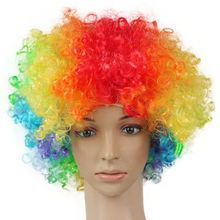 Halloween Disco Clown Curly Afro Circus Fancy Dress Hair Wigs Xmas Party Costume(China)
