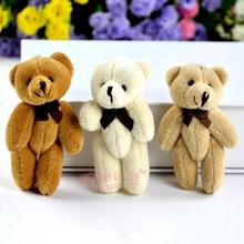 Free shipping 20pcs/lot Sitting 8cm Joint Bear Plush Pendant Soft Toys For Bouquets mini Plaid Bear Toys party gift
