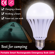 Led Outdoor Portable Camping Lamp E27 5W 7W 9W 12W 220V Emergency Light Bulb Rechargeable Battery Smart Bulb Hook with Switch(China)