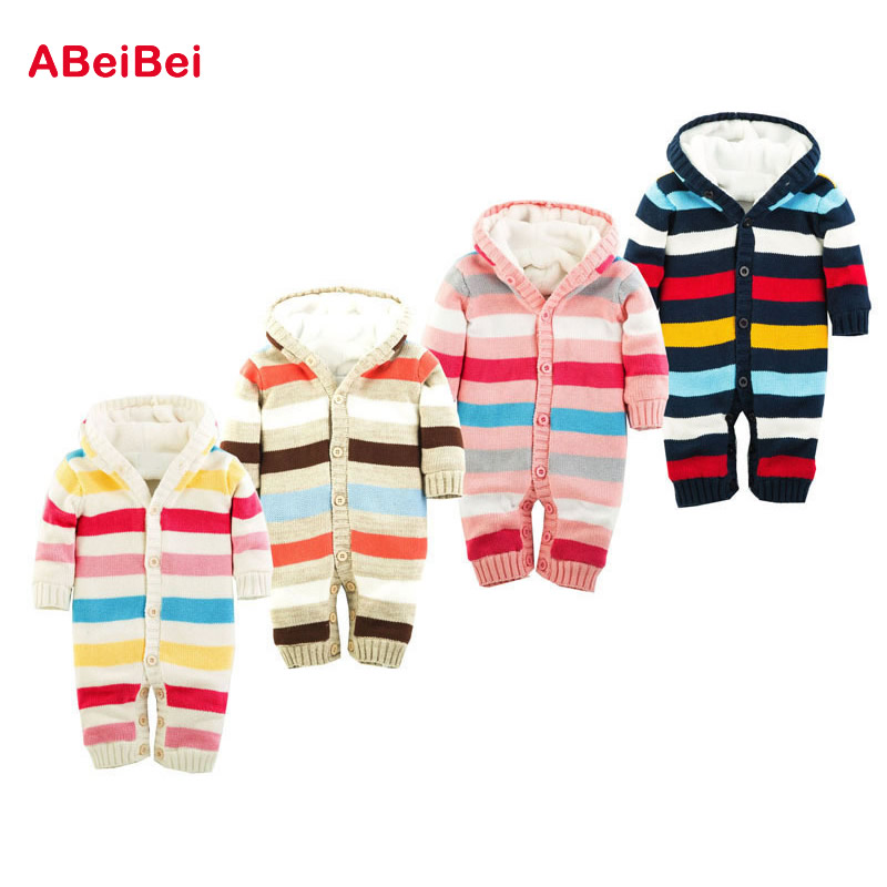 2017 New arrival Striped Baby Boy Winter Clothes Thickening Baby Rompers Baby Girl Winter Coverall Hooded Baby Clothing<br><br>Aliexpress