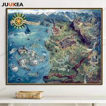 The Map of Witcher 3 Wild Hunt Art Canvas Posters Huge Print 70x88 78x98cm Hot Game Pictures for Living Room Home Decoration