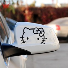 2pcs Auto mirror stickers Hello Kitty Car Stickers Car Accessories Set Auto Car Styling For 2 car mirror(China)