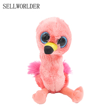 "SELLWORLDER WILD ANIMALS Big Eyes 6"" 15cm Flamingo Bird Plush Animal Stuffed Dolls Toys(China)"