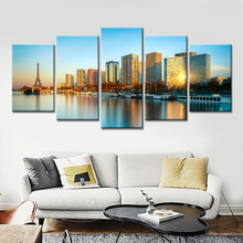 Frameless Wall Decor Art Paris Night Market Oil Style Painting on Canvas Wall Pictures for Living Room Modern Abstract Picture(China)