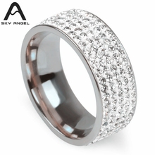 SkyAngel 5 Rows Crystal Stainless Steel Rings for Women  Full Finger Love Wedding band men Ring Jewelry Wholesale suppliers