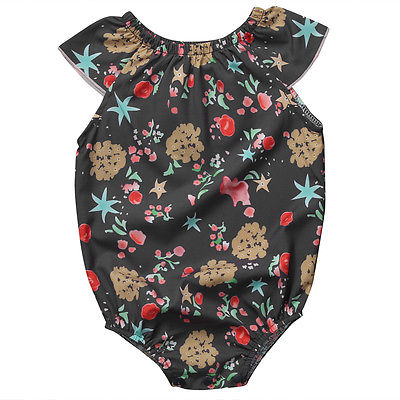 Summer Newborn Baby Girl romper Ruffled Short Sleeve Mixed Floral Clothes Jumpsuit Sunsuit Outfit Infant Tops Clothing 0-24M(China (Mainland))