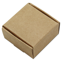 3.7*3.7*2cm Brown Kraft Craft Paper Jewelry Pack Boxes Small Gift Box Biscuits Handmade Soap Wedding Party Candy Packaging Boxes