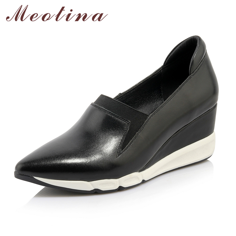 Meotina Genuine Leather Women Shoes Platform Wedge Heels Full Grain Leather Shoes Pointed Toe Wedges Shoes Ladies Career Pumps <br>