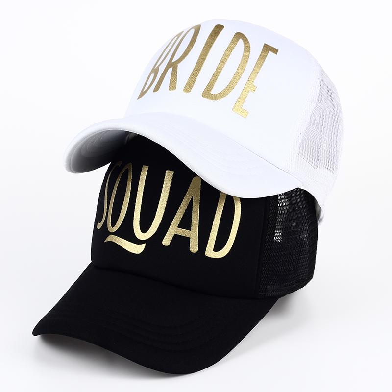 SQUAD BRIDE Party Hat Women Girl Wedding Mesh Baseball Cap Brand Bachelor Club Group Snapback Caps Summer Beach Gold Print Bone 1
