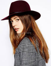Vintage 100% Wool Women's Wine red Fedora hats Trilby felted Panama Ladies Cap Size 56-58CM adjusted IN Stock