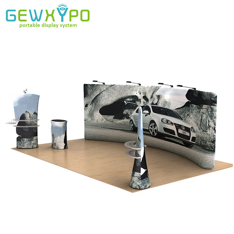 20ft Trade Show Booth Advertising Tension Fabric Backwall With Graphics,High Quality Portable Stretch Banner Display Exhibit title=