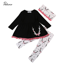 Kids Baby Girls Black Antlers Pattern Clothes Dress Tassel Long Tops+Leggings Pants 3PCs Outfits Set Toddler Winter Clothing