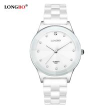 LONGBO Brand Watches Women Fashion Watch 2017 White Ceramic Diamond Waterproof Jelly Quartz Wrist Watches relogio feminino 8631(China)