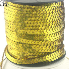 Free Shipping 6mm Coin Gold Connect Diy Sew On Jewelry Accessories Craft Sewing Sequin Strip Beads(China)