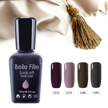 Belle Fille Nude Gel Nail Polish Soak Off UV Gel Nail Polish Need UV LED Lamp with Top Coat Nude Lacquer Colorful Art Design(China)