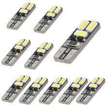 Car Styling Car Accessories 10 PCS LED White T10 168 194 W5W Wedge 6 SMD 5730 Light bulb Canbus For Focus Passat Universal Cars(China)