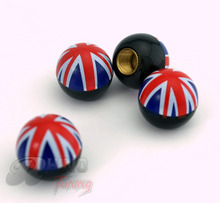 Rhino Tuning 4PC/Lot High Quality Union Jack Flag Wheel Tyre Valve Caps British Round Ball Tire Valve Dust Caps 094